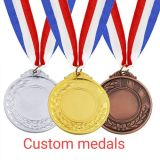 Custom Souvenirs, Medals, Badges; Gold Medallion with Ribbon; ODM Gold 3D Metal Sport/Military/Running Medal