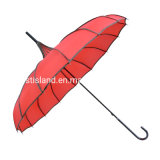Wholesale Princess Red Long Handle Manual Open Wedding Pagoda Parasol Umbrella for Lady