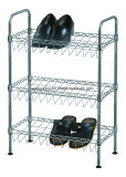 Wholesale Price 3 Shelves Slanted Chrome Metal Wire Shoe Rack