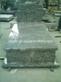 China Juparana Granite European Style Memorial Tombstone Monuments for Cemetery