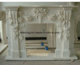 Marble Fireplace Hand Carving Stone Fireplace Mantel with Flower Carving for Indoor Decoration