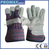 Full Palm Cow Split Leather safety Gloves with Rubberized Cuff