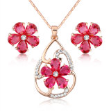 Hot Sale Ruby Zircon Crystal Fancy Flower Woman African Jewelry Set