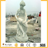 Pure White Marble Women Sculptures Stone Carving Marble Statue