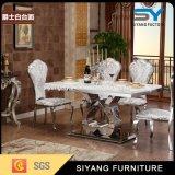 Italian Metal Furniture Modern Steel Dining Table Marble Dining Table