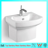 Popular Rectangle Wall Mounted Half Stand Hand Wash Basin