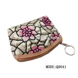 Factory Wholesale Fashion Fancy PU Fluffy Material Change Coin Purse for Lady