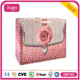 Pink Rose Fashion Promotional Cosmetic White Card Paper Shopping Bag