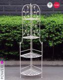Beautiful Unique Design Wrought Iron 4-Tier Antique White Display Shelf