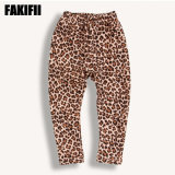 Brand Customised Kids Wear Children Garment Girl/Baby Thick Warm Leopard Print Pants Winter Child Clothes
