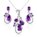 Purple Cubic Zirconia Fashion Jewellery Accessories Necklace Set Factory