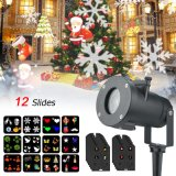12 Pattern LED Outdoor Christmas Snowflake Projector Lamp Waterproof Decorations Light for Landscape Garden Holiday Part