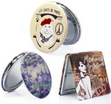 Cheap Personalized Custom Round PU Leather Mini Size Decorative Travel Purses Compact Make-up Portable Double Sided Folding Handheld Pocket Mirror