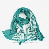 Soft Thin Cotton Woven Lady Scarf with Vertical Stripe (HV03)