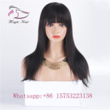 130 Density Silk Straight Vrigin Hair Lace Wig with Bangs
