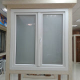 Double Pane Frost Glass White Profile UPVC Casement Window for Building House