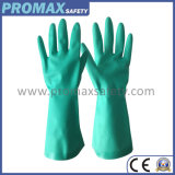 Green Nitrile Industrial Chemical Gloves with En388 and En374