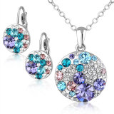 Round Alloy Earring and Pendant Austrial Crystal Necklace Jewelry Set