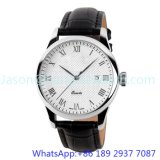 Top-Quality Stainless Steel Quartz Watch, Genuine Leather Band 15134