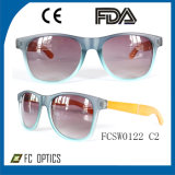Promotion! Estimate Wooden Polished Sunglasses in Blue-Coating Quality Lens