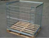 Warehouse Stackable Mesh Wire Collapsible Foldable Pallet Cage with Wooden Pallet