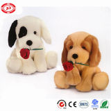 Plush Soft Stuffed Sitting Puppy Valentines Dog with Flower Toy