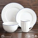 Hot Sale 16PCS Embossed White Porcelain Dinner Set
