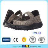 China Factory Women Woven Weave Shoes, Elastic Belt Hand Knit Shoes