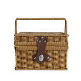 Wicker Woven Picnic Basket with Lid and Handle for Camping