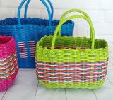 Customized and Wholesale Portable Handmade PP Woven Basket, Storage Basket