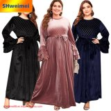 Womens Plus Size Long Sleeves Pleuche Formal Evening Party Maxi Dress