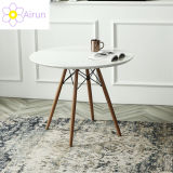 Chinese Restaurant Furniture Cheap Simple White Round Dining Table Decor with Beech Wood Legs