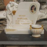 High Polished Sleeping Angel Sculpture Headstone for Cemetery (GSME-106)