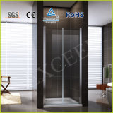 One Side Bath Room Tempered Glass Shower Door Two Panels Glass Aluminum Shower Enclosure Pivot Shower Door Simple Shower Room (EX-218A)