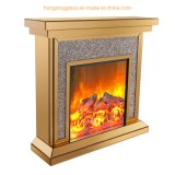Modern Living Room Chinese Glass Silver Brown Crushed Diamond Electronic Glass Mirrored Fireplace