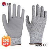China Supplier Hot Sale Cut Resistance Nylon Hppe PU Coated Safety Work Glove Level 5