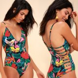 Women′s Tropical Print Ukiyoe Japanese Style Fashion Cut One-Piece Swimsuit