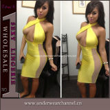 Yellow Halter Neck Bold Open Clubwear Dress Sexy Underwear (T6330)