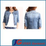 Haft Sleeve Classic Shoulder Embroidery Distreesed Denimn Jacket Clothing (JC4068)