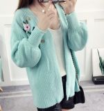 Embroidered Lady Cardigan Long Lantern Sleeves Women Sweater (BTQ224)