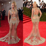 Sheer Beaded Beyonce Red Carpet Dresses Nude Celebrity Gown Evening Dress Women