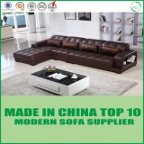 Living Room Wooden Corner Leather Sofa