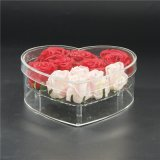 Waterproof Heart Shape Acrylic Lucite Flower Gift Box with Lid