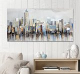 Oil Paintings. City Building Abstract Art Wall Art. Canvas Art Ol-200707 Size 60X30 Inch Wall Pictures