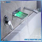 LED Waterfall Wall Mounted Brass Bath Shower Faucet