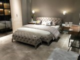 Modern Fabric King Size Bed with Tufting for Bedroom Furniture