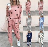 Women Round Neck Printed Sleepwear Long Sleeve Pajama Set Night Shirt Women′s Home Wear Ladies Home Suit Two-Piece Suit