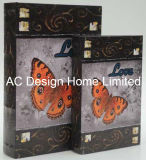 S/2 Beautiful Butterfly Design PU Leather/MDF Wooden Printing Storage Book Box
