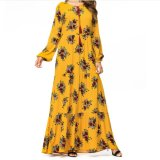 Hot Selling Ethnic Abaya Bridal Wedding Long Women Party Lady Muslim Fashion Yellow Floral Print Maxi Dress