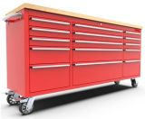 Junmao Us General Metal Workbench 72 Inch 15-Drawer Tool Cabinet with Wheel-Red